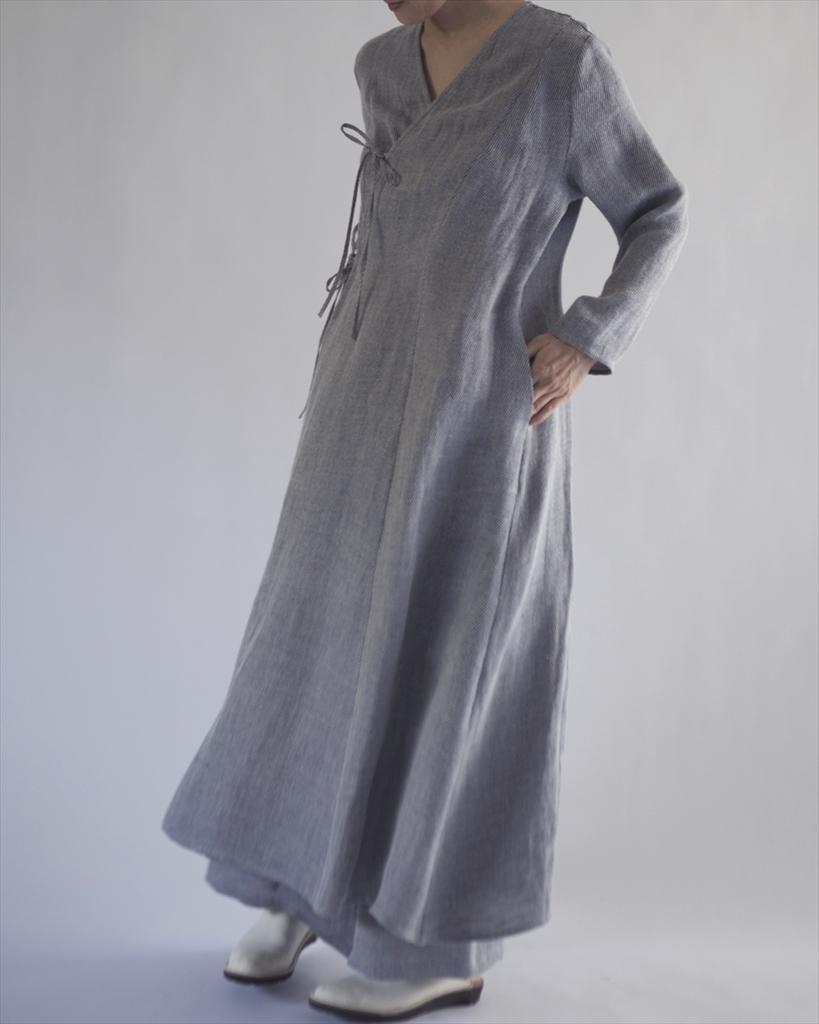 長衣 亜麻綾織紐結 薄青